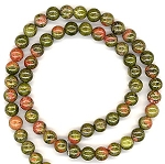 1 Dozen 6mm Round Semiprecious Gemstone Beads - Unakite