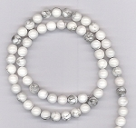 1 Dozen 6mm Round Semiprecious Gemstone Beads - White Howlite