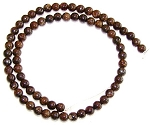 1 Dozen 6mm Round Semiprecious Gemstone Beads - Bronzite
