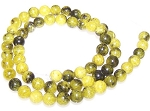 1 Dozen 6mm Round Semiprecious Gemstone Beads - Yellow Matrix Jasper