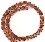 CLOSEOUT - 1 Strand of 8mm Square Semiprecious Gemstone Beads - Goldstone