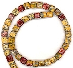 CLOSEOUT - 1 Dozen 8mm Square Semiprecious Gemstone Beads - Leopardskin