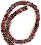 CLOSEOUT - 1 Strand of 8mm Square Semiprecious Gemstone Beads - Red Tiger Eye