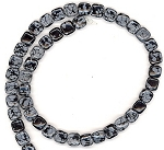 CLOSEOUT - 1 Strand of 8mm Square Semiprecious Gemstone Beads - Snowflake Obsidian