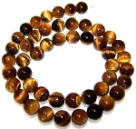 1 Strand of 8mm Round Semiprecious Gemstone Beads - Natural Tiger Eye