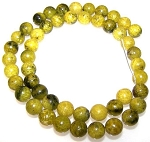 1 Strand of 8mm Round Semiprecious Gemstone Beads - Yellow Matrix Jasper