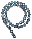 1 Strand of Blue Picasso Jasper 8mm Round Semiprecious Gemstone Beads