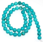 1 Strand of 8mm Round Semiprecious Gemstone Beads - Turquoise Colored Howlite