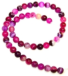 1 Strand of 8mm Round Semiprecious Gemstone Beads - Fuchsia Striped Agate