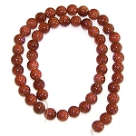 1 Strand of 8mm Round Semiprecious Gemstone Beads - Goldstone