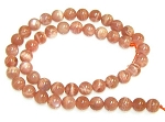 1 Strand of 8mm Round Semiprecious Gemstone Beads - Pink Moonstone