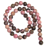 1 Strand of 8mm Round Semiprecious Gemstone Beads - Rhodonite
