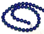 1 Strand of 8mm Round Semiprecious Gemstone Beads - Azurite