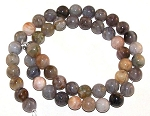 1 Strand of 8mm Round Semiprecious Gemstone Beads - Bamboo Leaf Agate