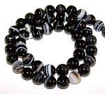1 Strand of 8mm Round Semiprecious Gemstone Beads - Black Striped Agate