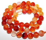 1 Strand of 8mm Round Semiprecious Gemstone Beads - Natural Carnelian