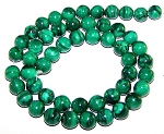 1 Strand of 8mm Round Semiprecious Gemstone Beads - Malachite