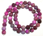 1 Strand of 8mm Round Semiprecious Gemstone Beads - Pink Crazy Lace Agate
