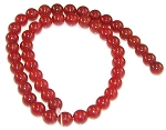 1 Strand of 8mm Round Semiprecious Gemstone Beads - Red Carnelian