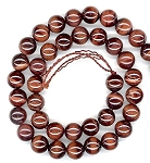 1 Strand of 8mm Round Semiprecious Gemstone Beads - Red Tiger Eye