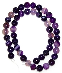 1 Strand of 8mm Round Semiprecious Gemstone Beads - Purple Striped Agate