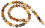 1 Dozen 8mm Round Semiprecious Gemstone Beads - Crazy Lace Agate