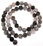 1 Strand of 8mm Round Semiprecious Gemstone Beads - Tourmalated Quartz