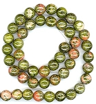1 Strand of 8mm Round Semiprecious Gemstone Beads - Unakite
