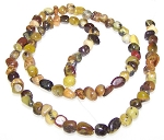 1/2 Strand of Semiprecious Gemstone Chip Beads - Dark Yellow Matrix Jasper