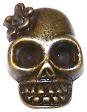 CLOSEOUT- 2 Antique Bronze 13mm Skull with Flowers and Large Loop on Back Beads