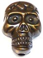 CLOSEOUT- 10 Acrylic 23x17mm Bronze-Colored Skull Beads