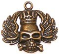 CLOSEOUT- 5 Antique Bronze 30mm Skull with Wings and Crown Pendants