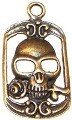 CLOSEOUT- 5 Antique Bronze 40x22mm Skull in Frame Pendants