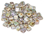 25 Czech Glass 2-Hole 6mm Tile Beads - Alabaster Blue Luster