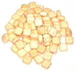 25 Czech Glass 2-Hole 6mm Tile Beads - Alabaster Champagne Luster