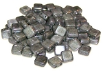 25 Czech Glass 2-Hole 6mm Tile Beads - Alabaster Grey Luster