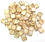 25 Czech Glass 2-Hole 6mm Tile Beads - Alabaster Picasso