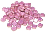 25 Czech Glass 2-Hole 6mm Tile Beads - Alabaster Vega Luster