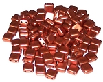 25 Czech Glass 2-Hole 6mm Tile Beads - Copper