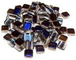 25 Czech Glass 2-Hole 6mm Tile Beads - Crystal Azuro