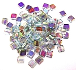 25 Czech Glass 2-Hole 6mm Tile Beads - Crystal Blue Rainbow