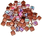 25 Czech Glass 2-Hole 6mm Tile Beads - Crystal Copper Rainbow