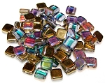 25 Czech Glass 2-Hole 6mm Tile Beads - Crystal Golden Rainbow