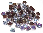 25 Czech Glass 2-Hole 6mm Tile Beads - Crystal Graphite Rainbow