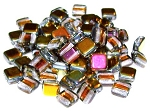 25 Czech Glass 2-Hole 6mm Tile Beads - Crystal Marea