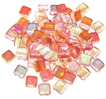 25 Czech Glass 2-Hole 6mm Tile Beads - Crystal Orange Rainbow