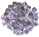 25 Czech Glass 2-Hole 6mm Tile Beads - Crystal Vitrail Light