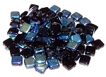 25 Czech Glass 2-Hole 6mm Tile Beads - Jet AB