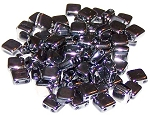 25 Czech Glass 2-Hole 6mm Tile Beads - Jet Full Chrome