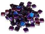 25 Czech Glass 2-Hole 6mm Tile Beads - Jet Sliperit